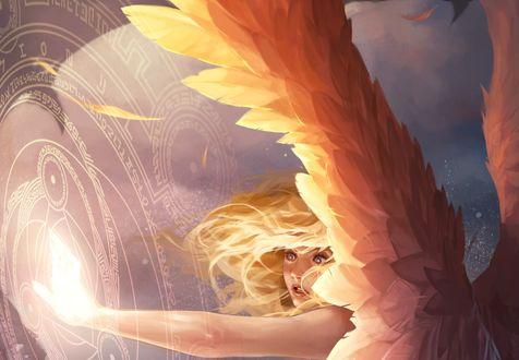 Обои Девушка -ангел держит руку у магических знаков, ву Jee-Hyung Lee