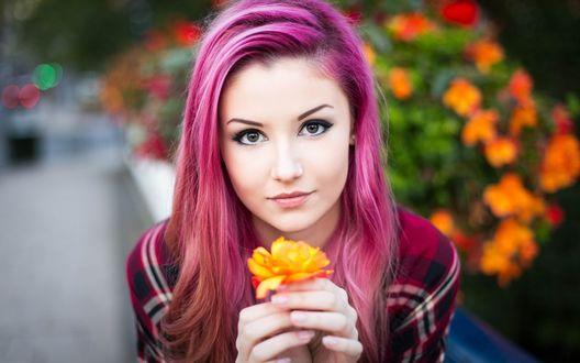 Обои Девушка с розовыми волосами держит в руках цветок
