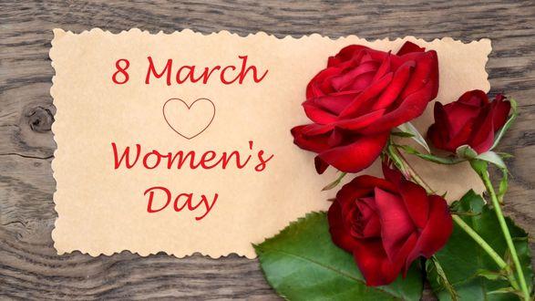 Обои Букет роз и открытка к 8 марта (8 March Womens Day)