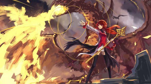 Обои Девушка-эльф с посохом из игры Dungeon and Fighter