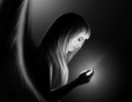 Обои Девушка-ангел с магией в руке, ву Михаил Поздняков