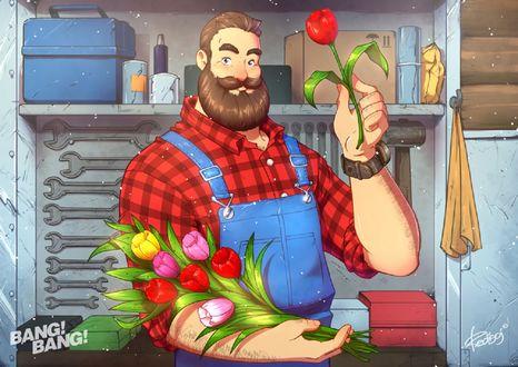Обои Мужчина с тюльпанами в руках, by redisoj