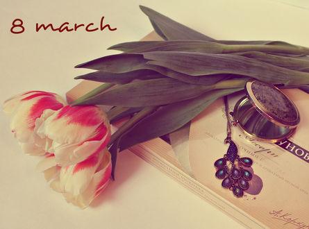 Обои Тюльпаны с подарком в праздничный день 8 March / 8 марта, by LadyWilmor