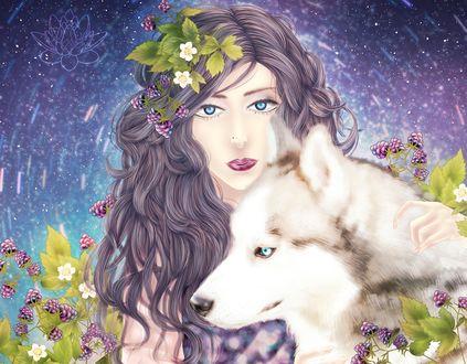 Обои Девушка с волком, by YaroslavaPanina
