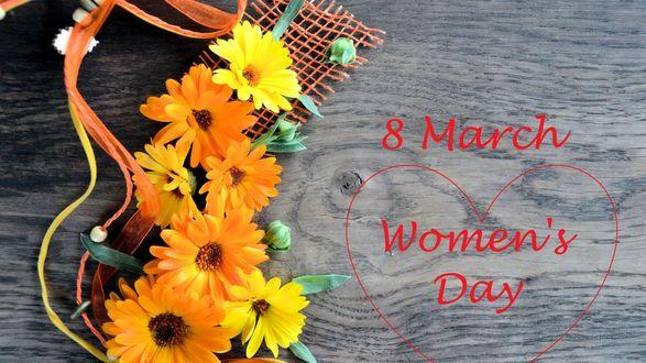 Обои Желтые герберы на деревянной поверхности (8 march Womens Day)