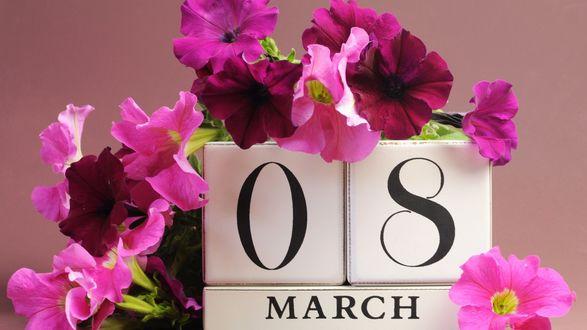 Обои Букет розовых цветов на 8 марта
