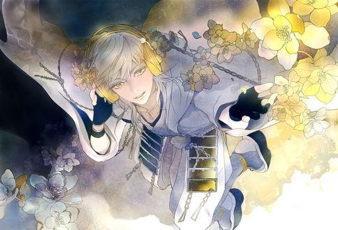 Обои Tsurumaru Kuninaga любуется цветущей сакурой из игры Touken Ranbu