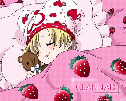 Обои Youhei Sunohara сладко спит вобнимку с игрушкой, персонаж игры Clannad / Кланнад