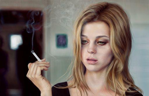 Обои Девушка с сигаретой в руке