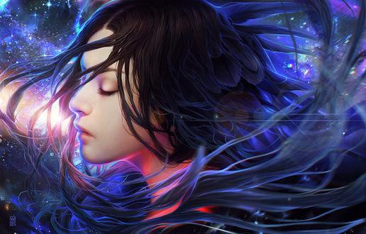 Обои Девушка с перьями в волосах на фоне космоса, by tincek-marincek