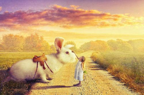 Обои Девочка гладит огромного ездового кролика, by Bilqu