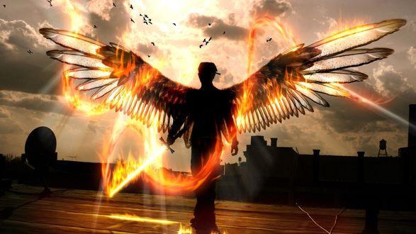 Обои Ангел мести с горящим мечом