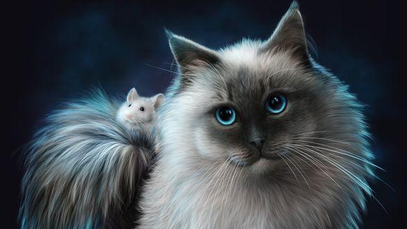 Обои Красивая кошка с мышкой на хвосте