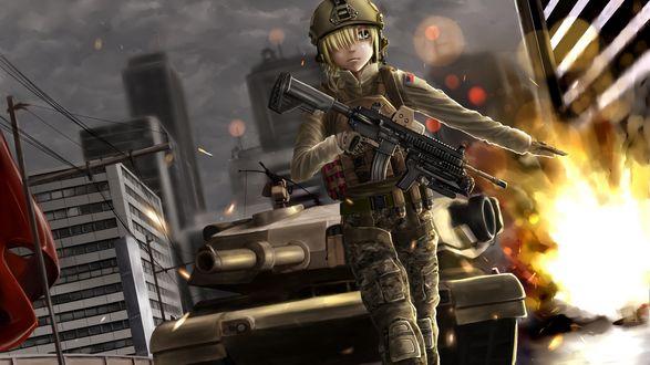 Обои Девушка с оружием идет впереди танка