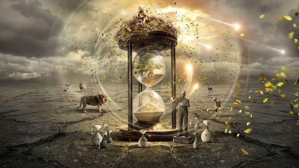 Обои Время течет неумолимо - мужчина в противогазе играет на скрипке, рядом гигантские песочные часы, вдали, очертания города