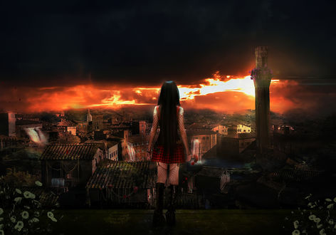Обои Девушка стоит на фоне ночного города, by eclipsy