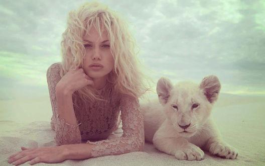 Обои Модель Сара Канерва / Sara Kanerva и львенок Борис лежат на песке, Фотограф Джастин Покли / Justin Polkey