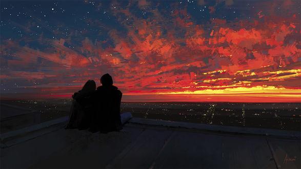 Обои Влюбленные сидят на крыше, любуясь закатом, ву Alena Aenami