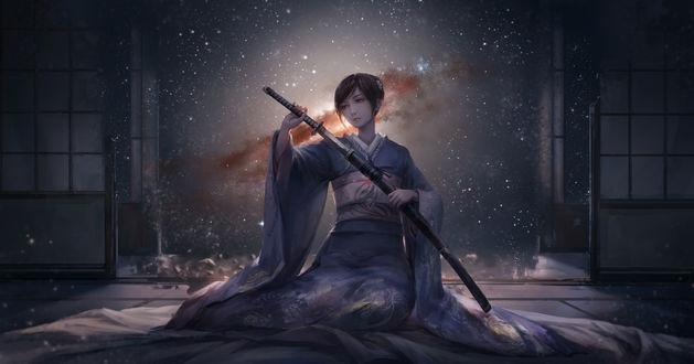 Обои Девушка в кимоно с катаной в руках сидит на полу полуразрушенного здания, за ее спиной виден космос и звезды, art by jlien