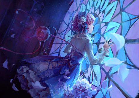 Обои Komeiji Satori / Сатори Комейдзи прижалась рукой к большому витражу, персонаж из серии компьютерных игр Touhou Project / «Проект «Восток»», art by jlien