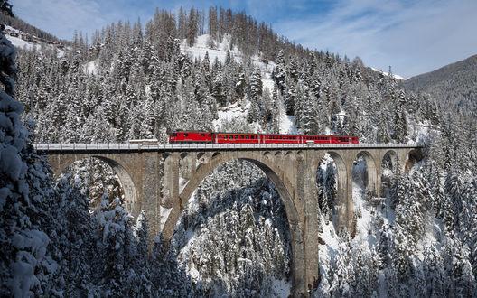 Обои Красный поезд едет по мосту Wiesen / Визен, находящемуся в снежных горах Швейцарии