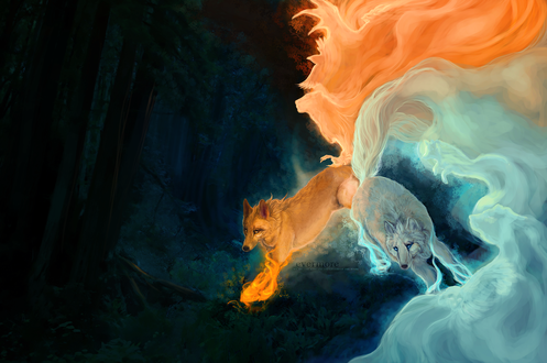 Обои Два волка, олицетворяющих огонь и воду, by 404mockingbirds