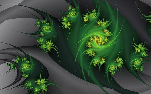 Обои Спирали зеленого цвета на фоне серого цвета