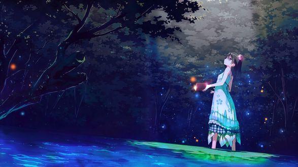 Обои Девочка с книгой стоит в воде по сред сказочного леса, art by Kantoku