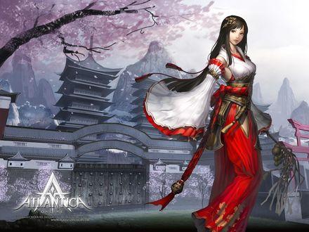 Обои Девушка-жрица на фоне храма с пагодой и цветущей сакурой, игра Atlantica