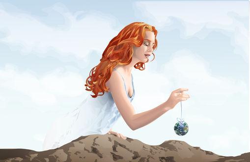 Обои Девушка держит на ленточке земной шар, by Akseru