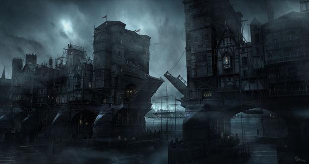 Обои Мост мрачного города