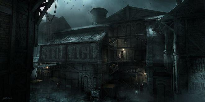 Обои Склады мрачного города