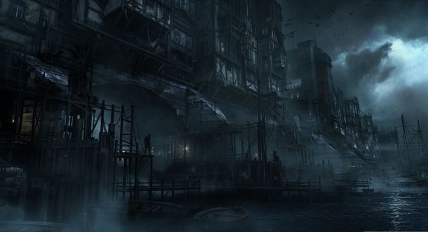 Обои Подмостки мрачного города