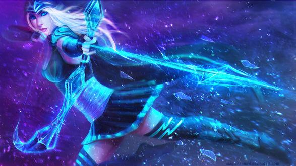 Обои Ледяная лучница Эш / Ashe - the Frost Archer из игры Лига Легенд / League of Legends, by MagicnaAnavi
