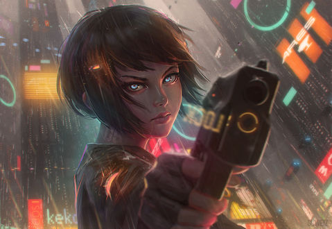 Обои Девушка с оружием, ву GUWEIZ