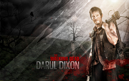 Обои Сериал Ходячие мертвецы / the walking dead, и один из главных героев Darul Dixon / Дэрил Диксон, которого сыграл Норман Ридус / Norman Reedus