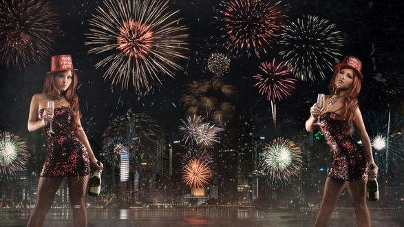 Обои Модель Tancy Marie / Тенси Мери с шампанским встречает Новый год на фоне ночного города и салютов (Happy Hew Year)
