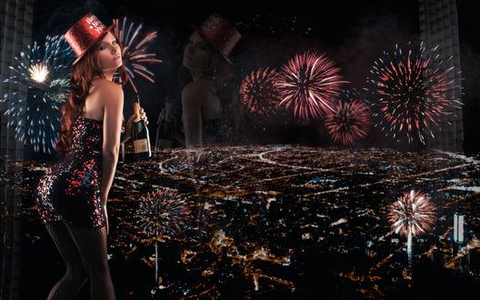 Обои Модель Tancy Marie / Тенси Мери с шампанским стоит у окна, за которым виден ночной город и новогодние салюты (Happy new year)