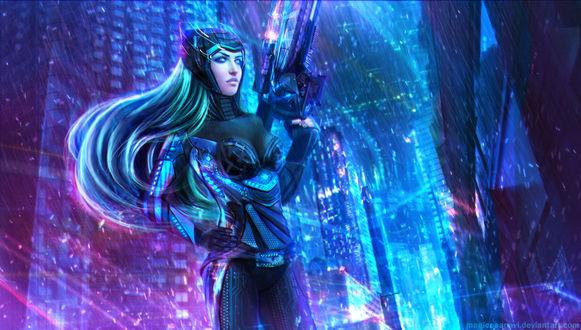 Обои Nanotech Caitlyn - the Sheriff of Piltover / Кейтлин из игры Лига Легенд / League of Legends, by MagicnaAnavi