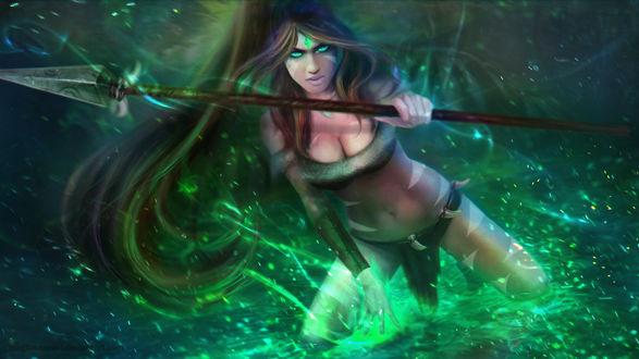Обои Нидали / Nidalee - the Bestial Huntress из игры Лига Легенд / League of Legends, by MagicnaAnavi