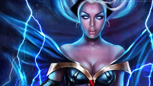 Обои Storm / Шторм / Гроза — супергероиня-мутант комиксов компании Марвел / Marvel Comics, в прошлом — одна из Людей Икс / X-Men, ныне — правящая королева Ваканды, by MagicnaAnavi
