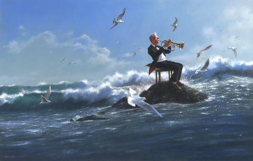 Обои Соло для саксофона, полет альбатросов над серебристым прибоем, by Jimmy Lawlor