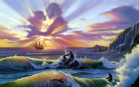 Обои Море любви в облаках освещают лучи заходящего солнца, by Jim Warren