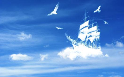 Обои Корабль плывущий в небе на облаках