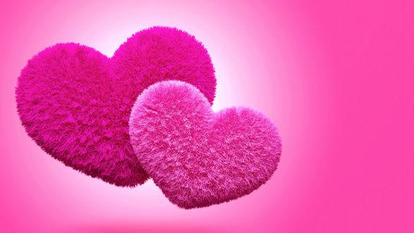Обои Пушистые сердечки на розовом фоне