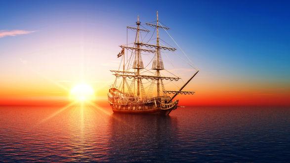Обои Корабль в море на фоне красивого неба