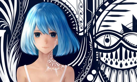 Обои Девушка с голубыми волосами с тату на шее, by bounin