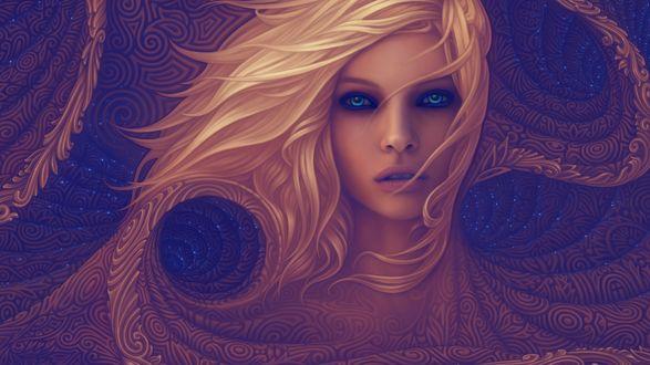 Обои Светловолосая девушка с голубыми глазами смотрит на зрителя