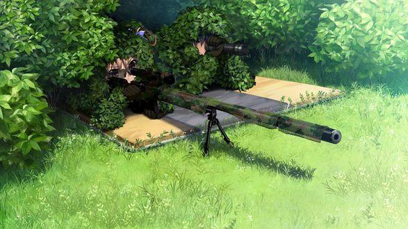 Обои Yuuji Kazami и Makina Irisu сидят в засаде со снайперской винтовкой из аниме Плод Грисайи / Grisaia no Kajitsu, art by Fumio