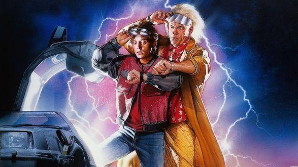 Обои Арт к кинофильму Назад в Будущее / Back to the Future, где главные герои Марти и профессор Эмметт смотрят на часы